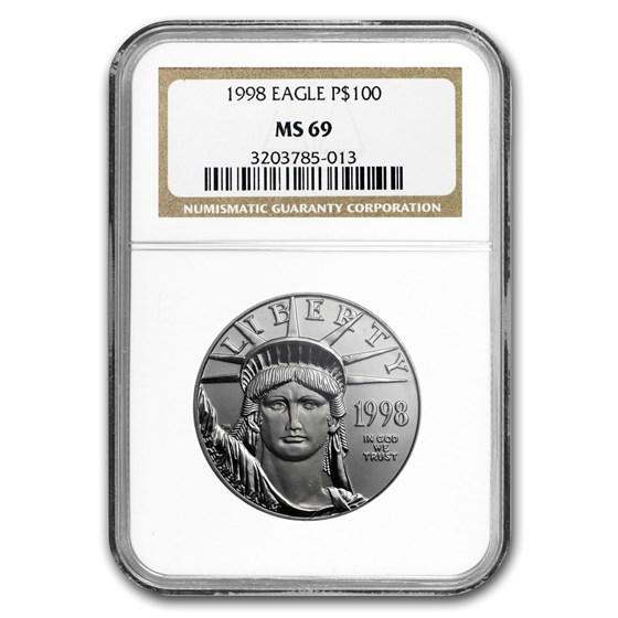 1998 1 oz Platinum American Eagle MS-69 NGC