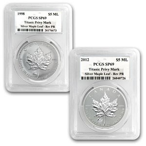 1998 & 2012 1 oz Silver Maple Leafs Titanic Privy Mark SP-69 PCGS