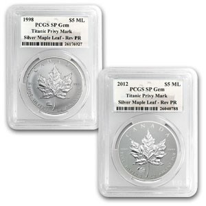 1998 & 2012 1 oz Silver Maple Leafs Titanic Privy SP-GEM PCGS