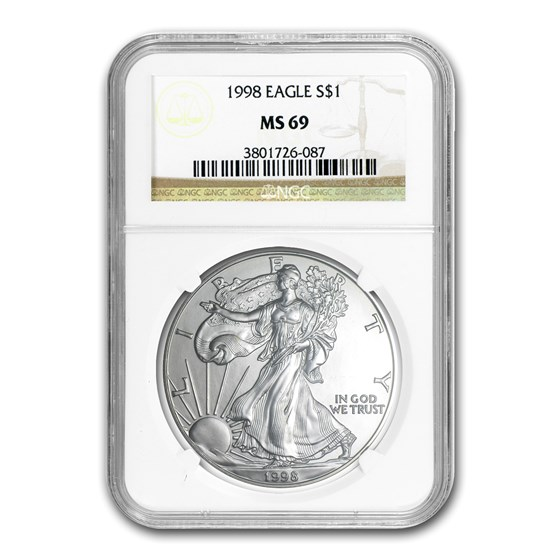 1998 American Silver Eagle MS-69 NGC