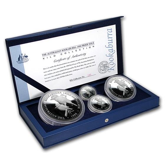 1998 Australia 4-Coin Silver Kookaburra Proof Set