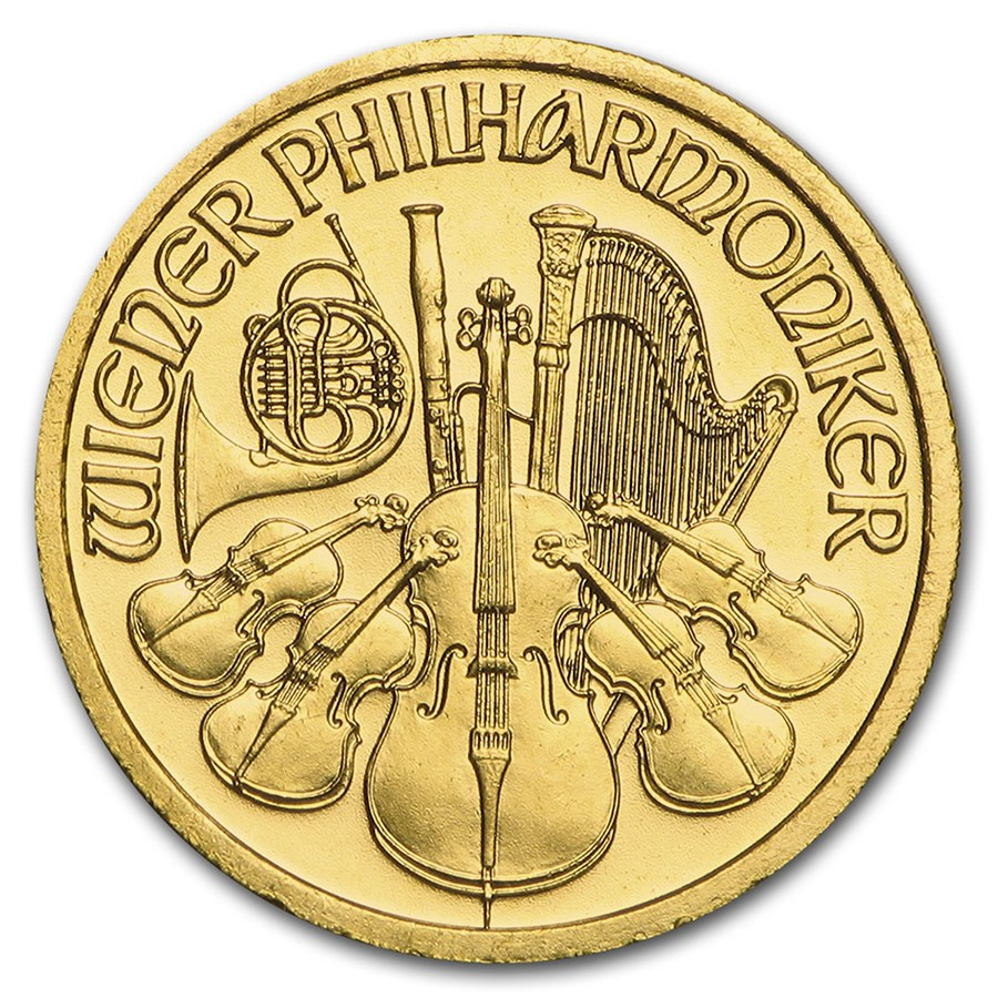 1998 Austria 1/10 oz Gold Philharmonic BU
