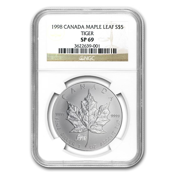 1998 Canada 1 oz Silver Maple Leaf Lunar TIGER Privy SP-69 NGC