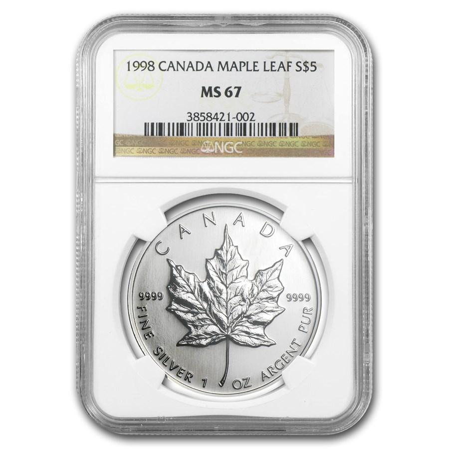 1998 Canada 1 oz Silver Maple Leaf MS-67 NGC