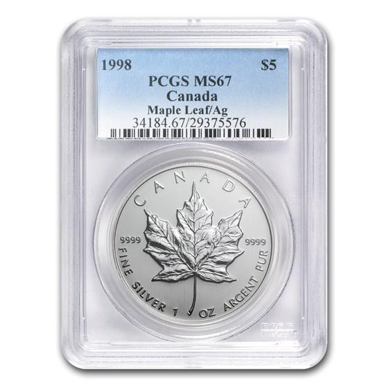 1998 Canada 1 oz Silver Maple Leaf MS-67 PCGS