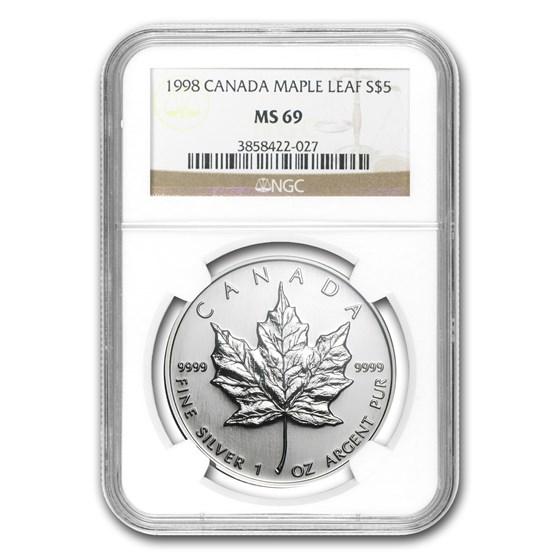 1998 Canada 1 oz Silver Maple Leaf MS-69 NGC
