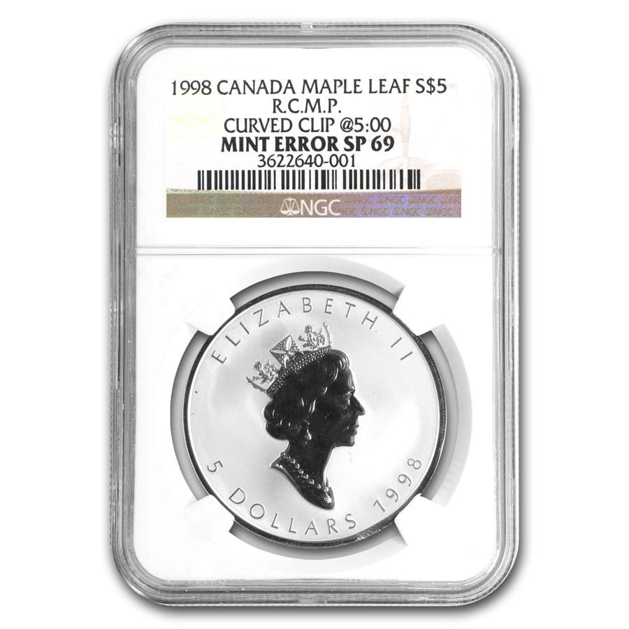 1998 Canada 1 oz Silver Maple Leaf RCMP Privy SP-69 NGC (ERROR)
