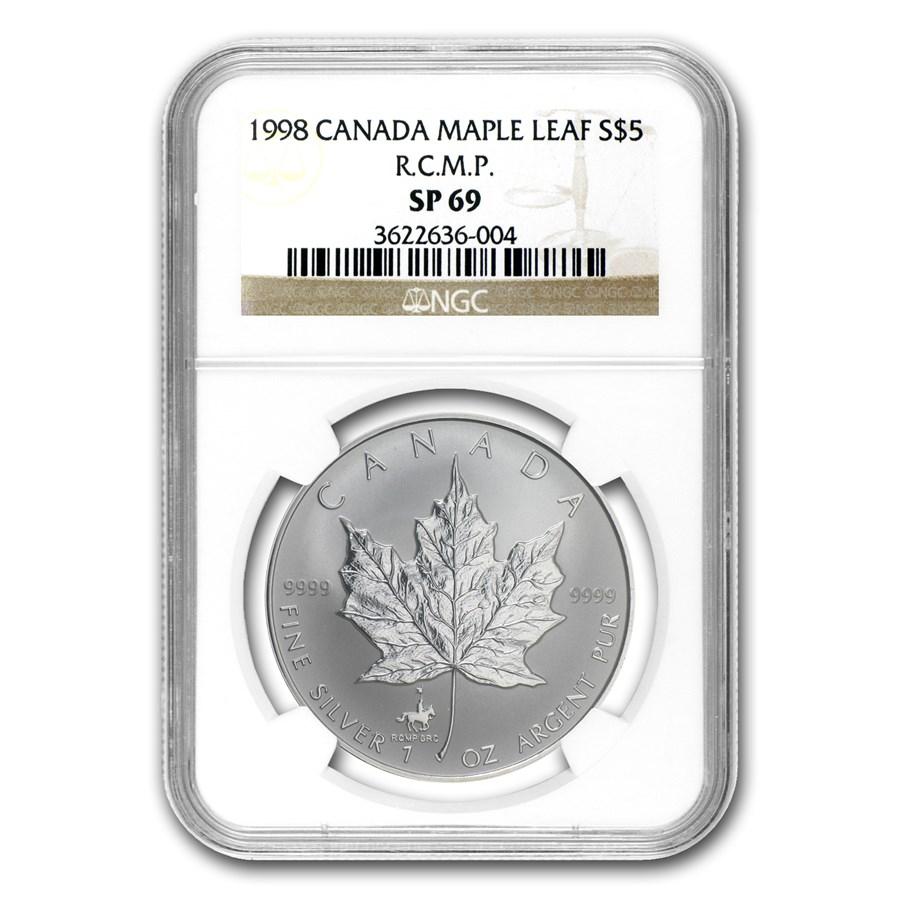 1998 Canada 1 oz Silver Maple Leaf RCMP Privy SP-69 NGC
