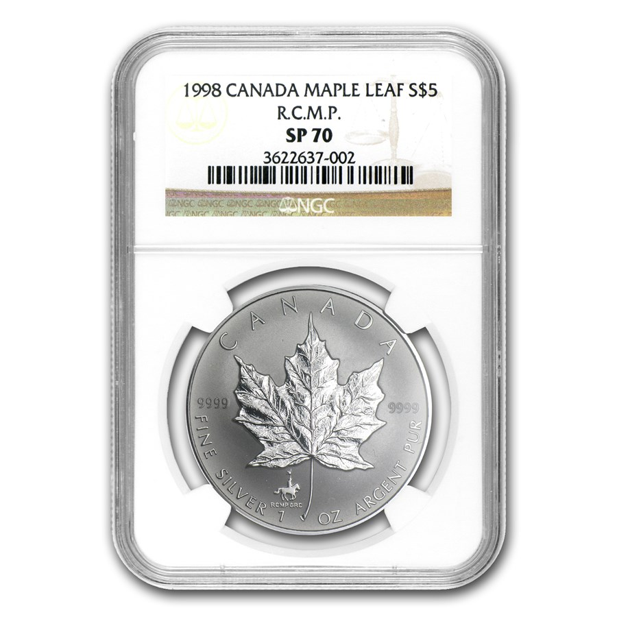 1998 Canada 1 oz Silver Maple Leaf RCMP Privy SP-70 NGC