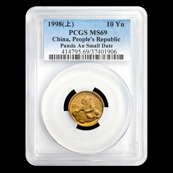 1998 China 1/10 oz Gold Panda Small Date MS-69 PCGS