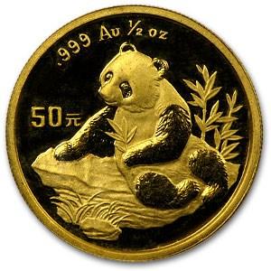 1998 China 1/2 oz Gold Panda Small Date BU (Not Sealed)