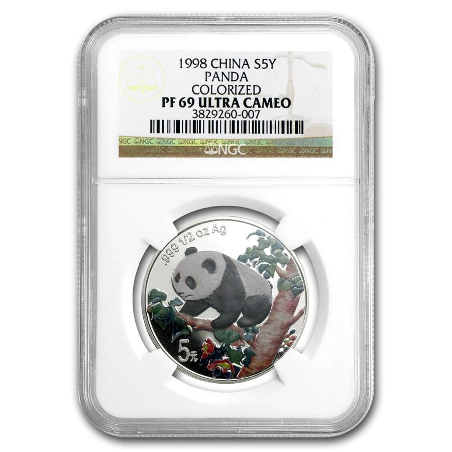 1998 China 1/2 oz Silver Panda PF-69 NGC (Colorized)