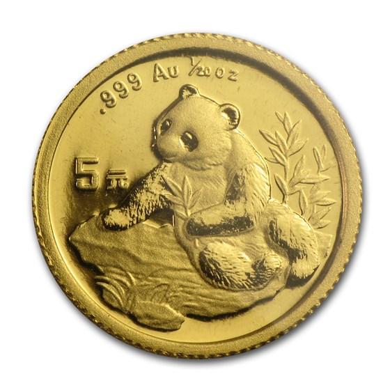 1998 China 1/20 oz Gold Panda Small Date BU (Sealed)