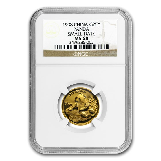 1998 China 1/4 oz Gold Panda Small Date MS-68 NGC