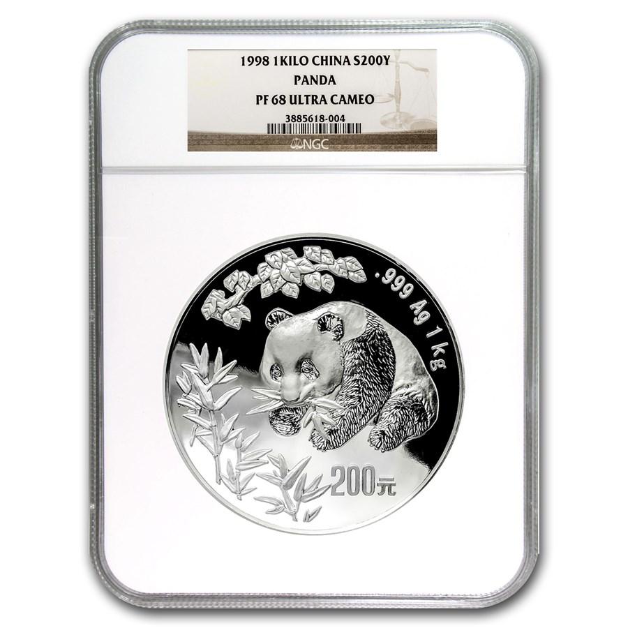 1998 China 1 kilo Silver Panda PF-68 NGC