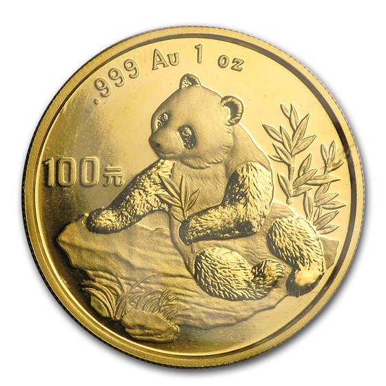1998 China 1 oz Gold Panda Large Date BU (Sealed)