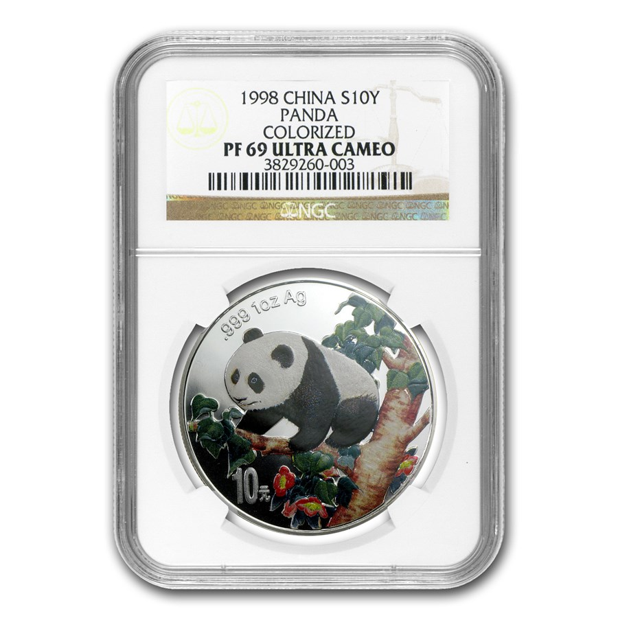 1998 China 1 oz Silver Panda PF-69 NGC (Colorized)