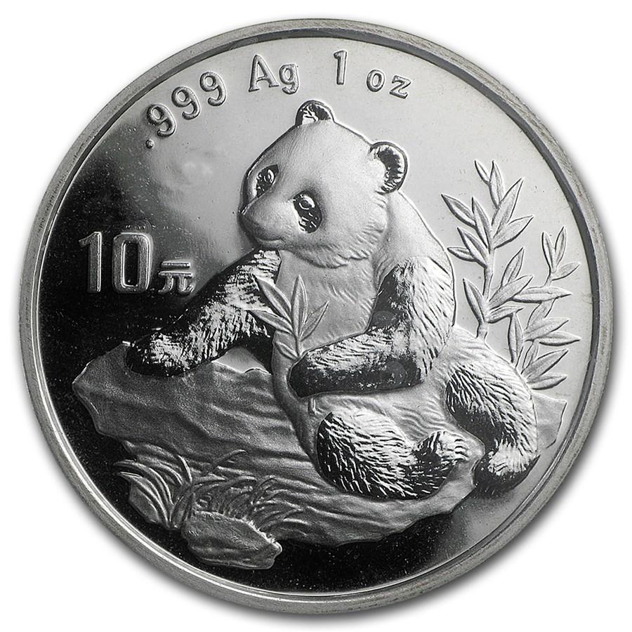 1998 China 1 oz Silver Panda Small Date BU (Sealed)