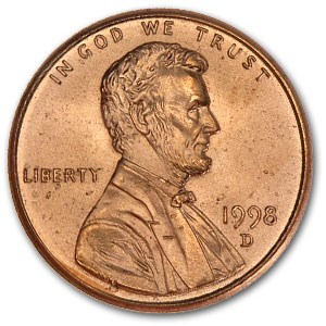 1998-D Lincoln Cent BU (Red)