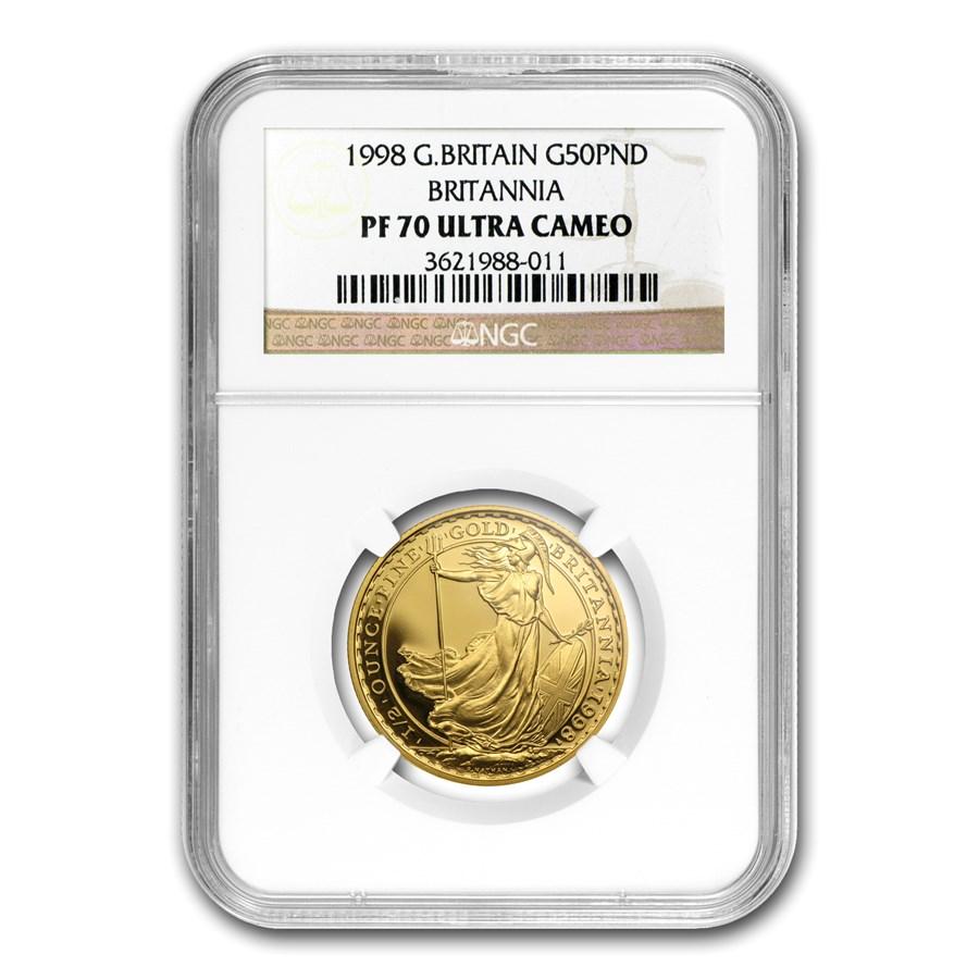 1998 Great Britain 1/2 oz Proof Gold Britannia PF-70 NGC