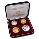1998 Israel Gold & Silver 1-20 New Sheqalim 4-Coin Proof Set 50th