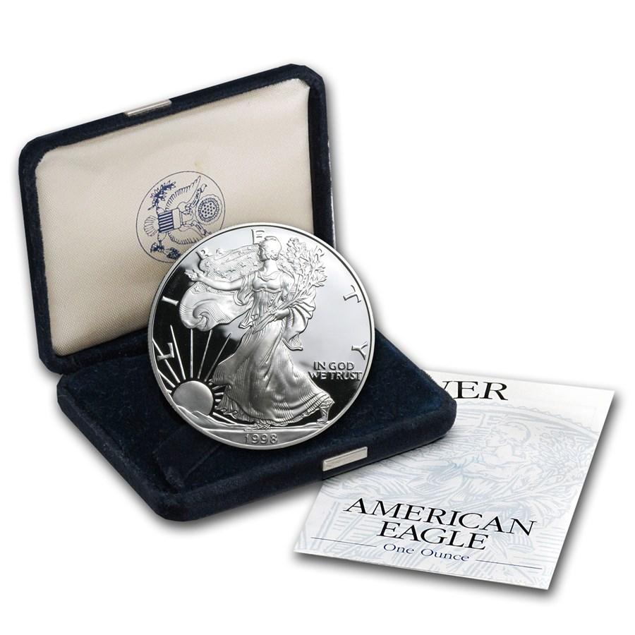 1998-P 1 oz Proof American Silver Eagle (w/Box & COA)