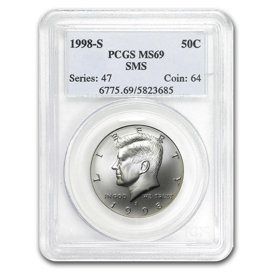 1998-S Silver John F. Kennedy 1/2 Dollar Matte MS/SP-69 PCGS