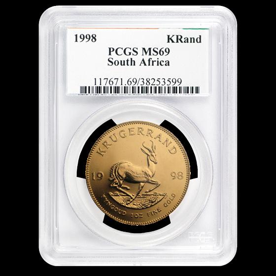 1998 South Africa 1 oz Gold Krugerrand MS-69 PCGS
