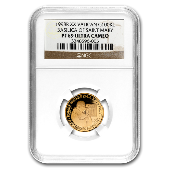 1998 Vatican City Gold 100,000 Lire Pope John Paul II PF-69 NGC