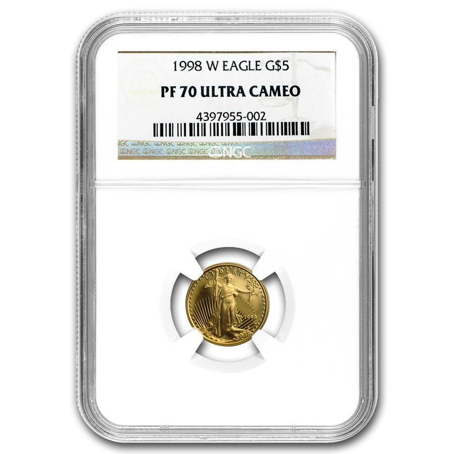 1998-W 1/10 oz Proof American Gold Eagle PF-70 NGC