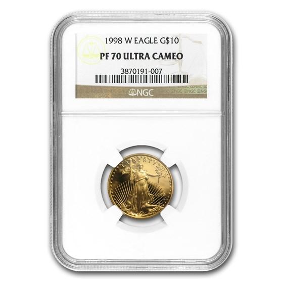 1998-W 1/4 oz Proof American Gold Eagle PF-70 NGC