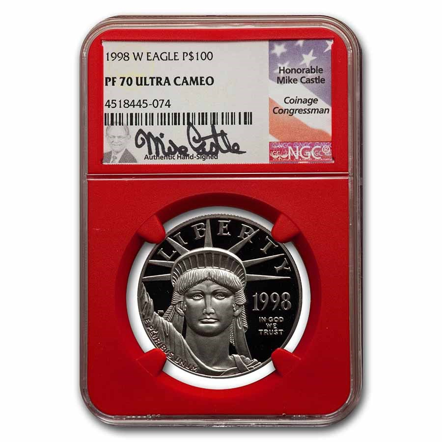 1998-W 1 oz Proof American Platinum Eagle PF-70 NGC (Red, Castle)