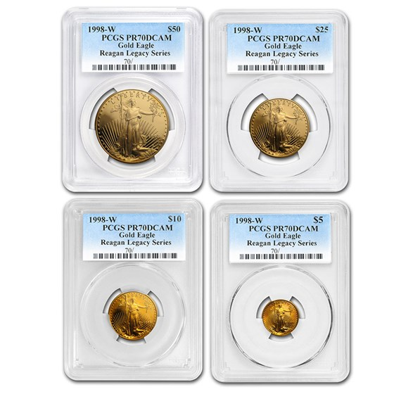 1998-W 4-Coin Proof American Gold Eagle Set PR-70 PCGS