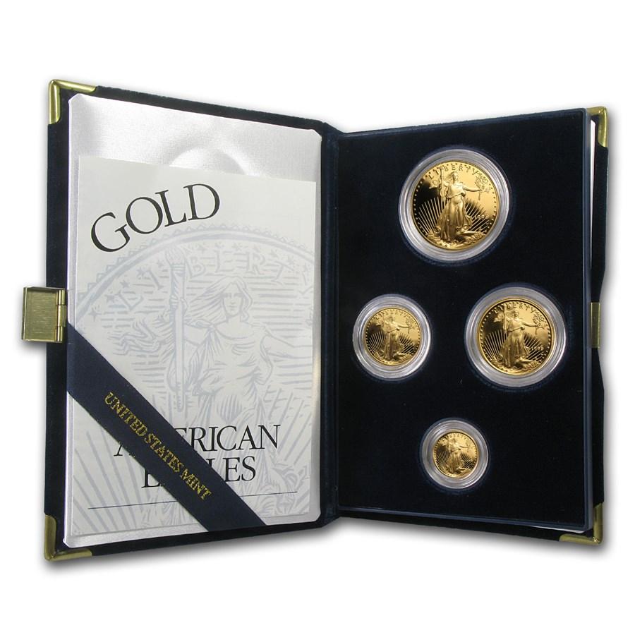 1998-W 4-Coin Proof American Gold Eagle Set (w/Box & COA)