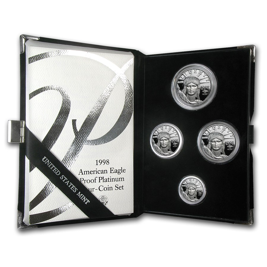 1998-W 4-Coin Proof American Platinum Eagle Set (w/Box & COA)