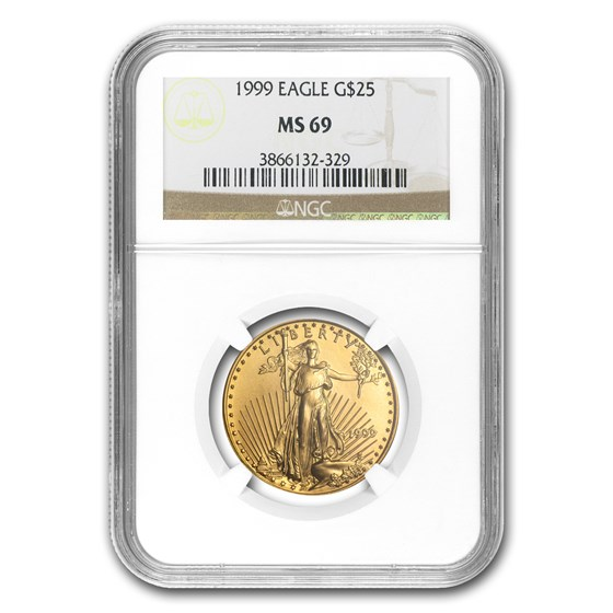 1999 1/2 oz American Gold Eagle MS-69 NGC