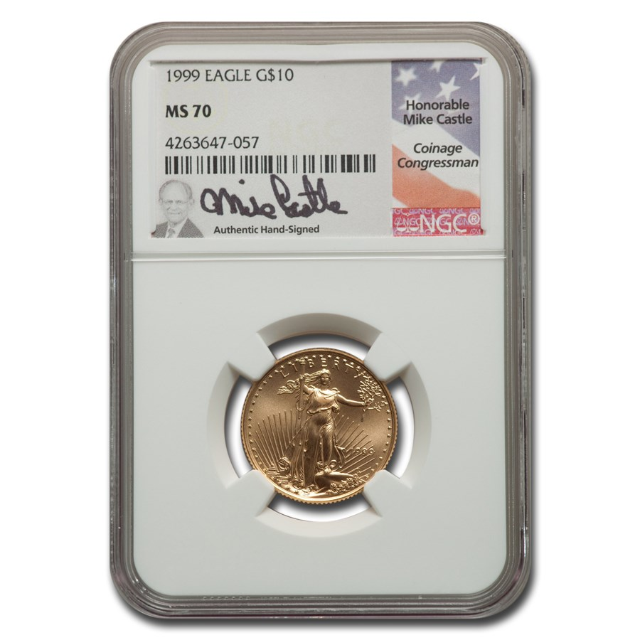 1999 1/4 oz American Gold Eagle MS-70 NGC (Castle)