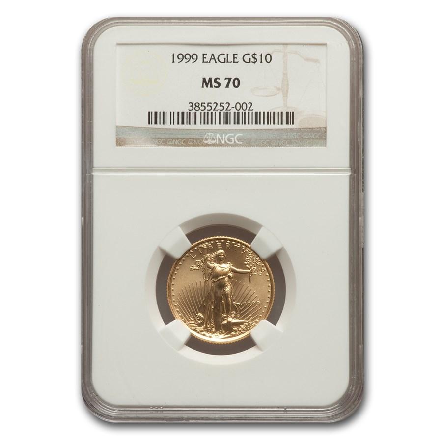 1999 1/4 oz American Gold Eagle MS-70 NGC