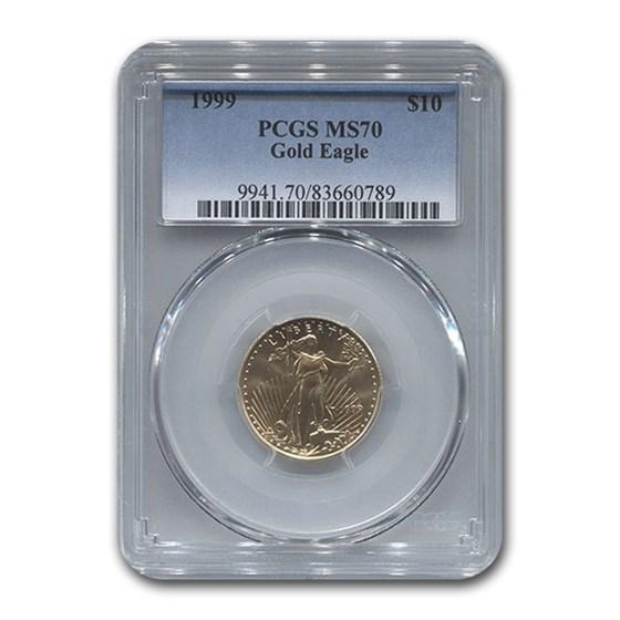 1999 1/4 oz American Gold Eagle MS-70 PCGS