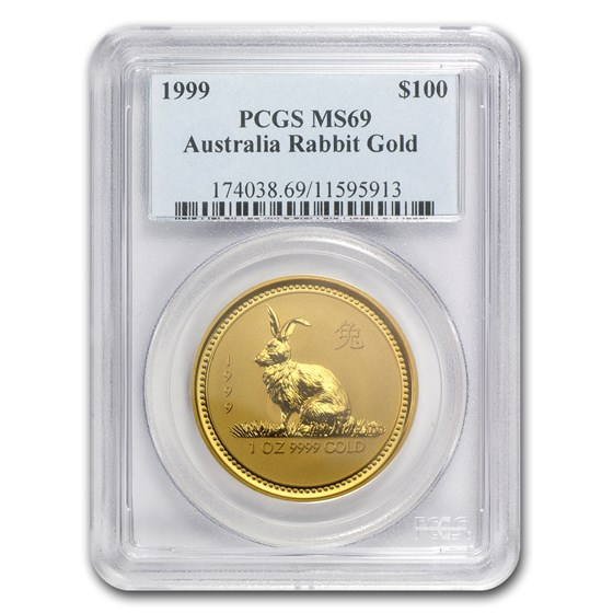 1999 1 oz Gold Lunar Year of the Rabbit MS-69 PCGS (Series I)