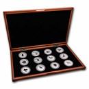 1999-2010 Australia 12-Coin 1 oz Ag Lunar Set BU (SI, Wood Box)
