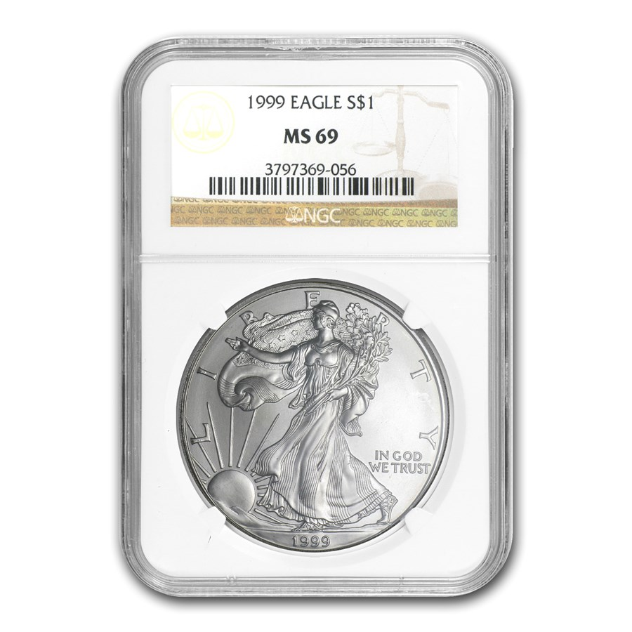 1999 American Silver Eagle MS-69 NGC