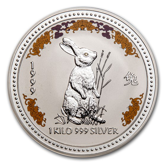 1999 AUS 1 kilo Silver Year of the Rabbit Diamond Eye (Abrasion)