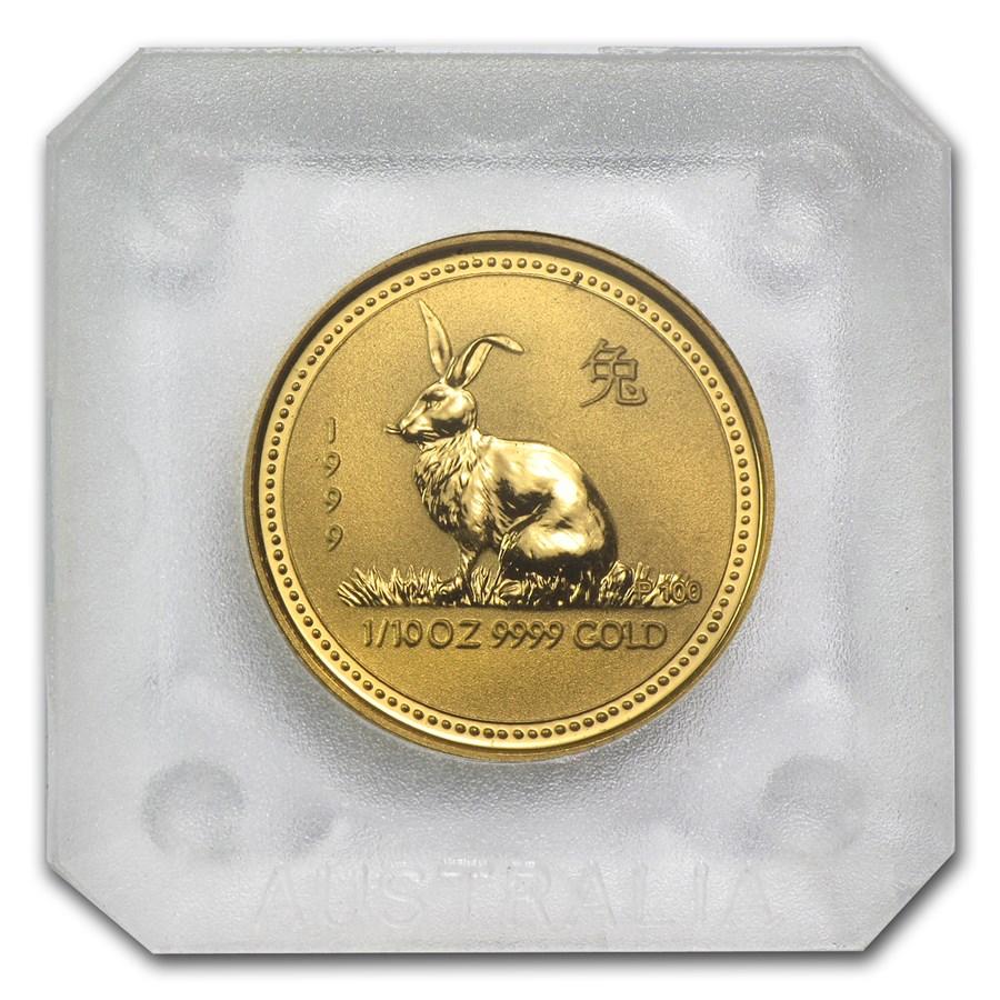 1999 Australia 1/10 oz Gold Lunar Rabbit BU (Series I)
