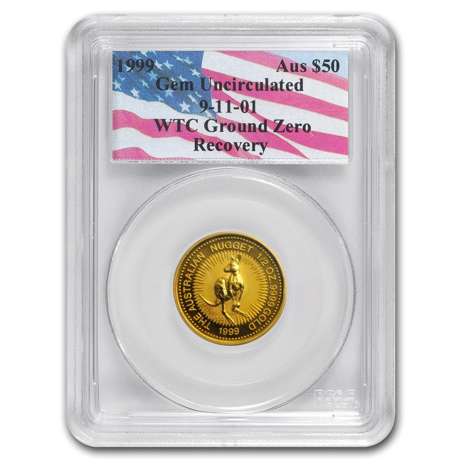 1999 Australia 1/2 oz Gold Nugget Gem Unc PCGS (WTC Ground Zero)