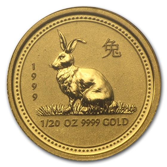 1999 Australia 1/20 oz Gold Lunar Rabbit BU (Series I)