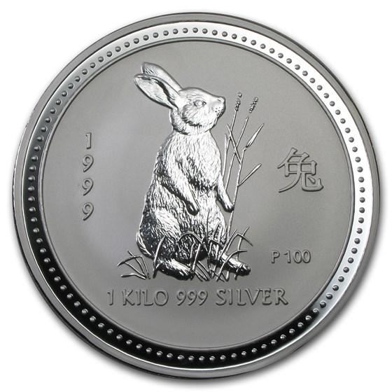 1999 Australia 1 kilo Silver Year of the Rabbit BU