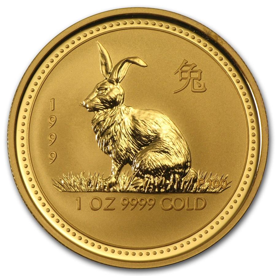 1999 Australia 1 oz Gold Lunar Rabbit BU (Series I)