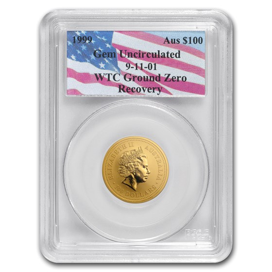 1999 Australia 1 oz Gold Nugget Gem Unc PCGS (WTC Ground Zero)