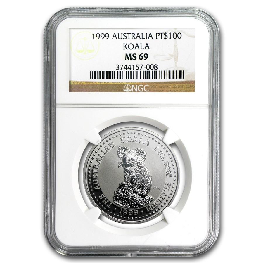 1999 Australia 1 oz Platinum Koala MS-69 NGC